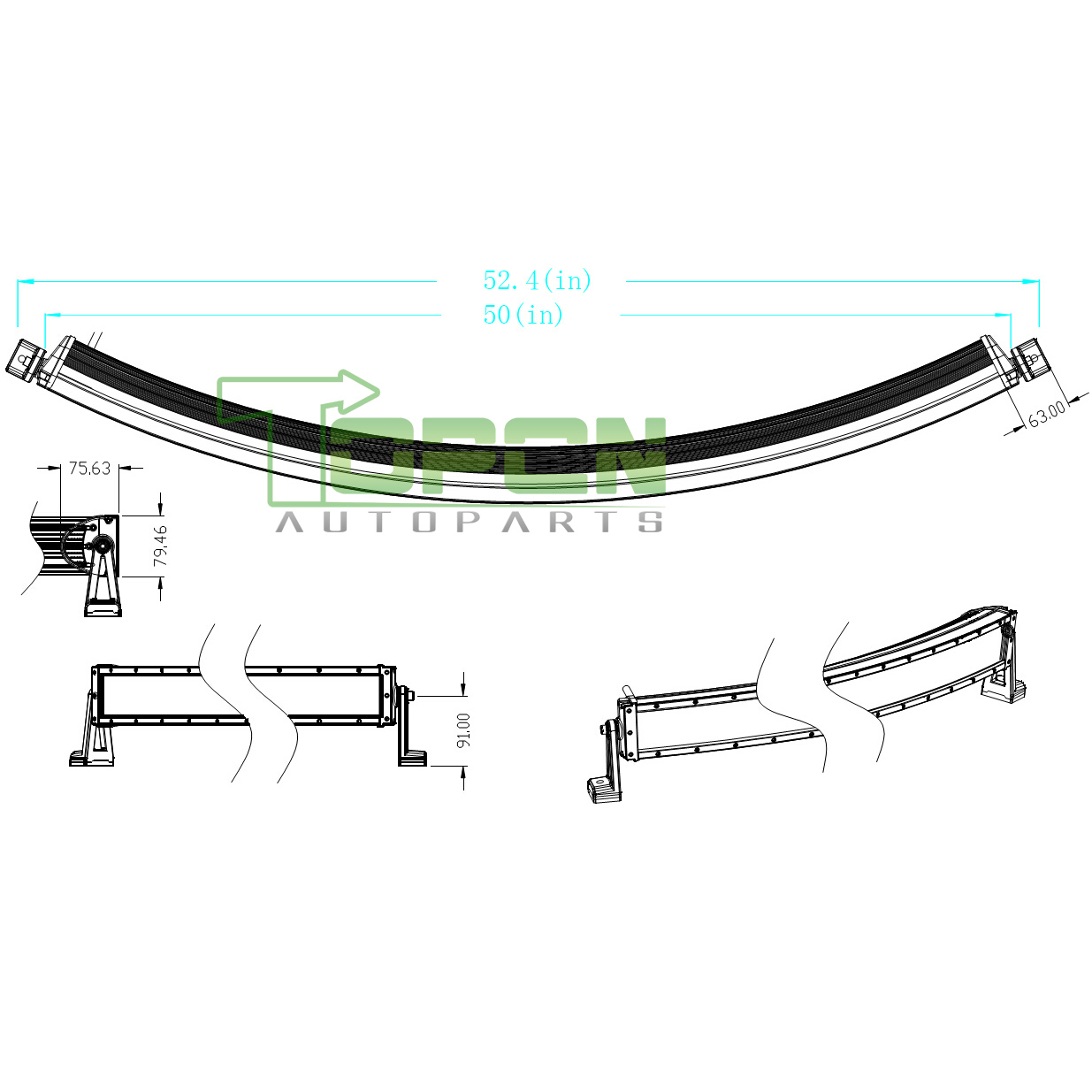 288w 50inch curved led light bar spot flood combo work